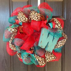 Custom Red, Turquoise and Leopard Deco Mesh Wreath