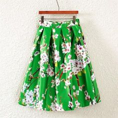 CHICUU - CHICUU Vintage Butterfly Floral Print A Line Zipper Midi Skirt - AdoreWe.com