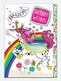 Magical Birthday Wishes / Rachel Ellen Unicorn Birthday Cards, Birthday Wishes For Kids, Birthday Wishes Cards, Happy Birthday Quotes, 21st Birthday, Birthday Greetings, Birthday Ideas, Birthday Memes, Birthday Stuff