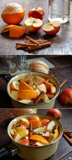 The Perfect Fall Potpourri: - the peel of one orange - one cut up apple - 2 large cinnamon sticks - 1 tablespoon of cloves - 1 tablespoon of...