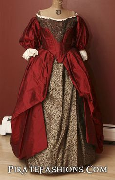 Beautiful Red Silk Gown from the 1660 time period. White wedding dresses didn't become popular until about Pirate Wedding Dress should not really be white in color. Pirate Wedding Dress, Red Wedding Dresses, 17th Century Clothing, 17th Century Fashion, 18th Century, Vintage Outfits, Vintage Dresses, Vintage Fashion, Mode Renaissance