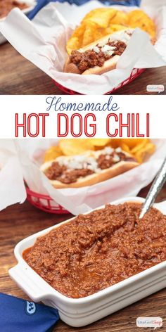 Hot Dog Chili Once you try this homemade hot dog chili recipe, you'll never buy canned again! It's also great on burgers!Once you try this homemade hot dog chili recipe, you'll never buy canned again! It's also great on burgers! Homemade Hotdog Chili Recipe, Homemade Hot Dogs, Chili Recipes, Hot Dog Chili Sauce Recipe, Chili Burgers Recipe, Hot Sauce, Easy Chili Recipe For Hot Dogs, Gastronomia