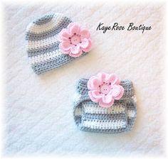 Newborn Baby Girl Crochet Flower Hat & Diaper Cover Set Pink Gray and White Stripes via Etsy