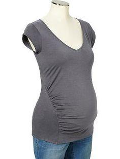 $10.00 - Maternity V-Neck Slub-knit Tees | Old Navy
