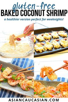 These Gluten-Free Baked Coconut Shrimp are a bit healthier than the fried version but just as tasty. You'll wish you made double batches of this easy appetizer, they will go quickly. Serve this tasty seafood recipe as an appetizer, starter, or a healthy dinner or lunch recipe the whole family will enjoy! Don't forget to serve it with homemade sweet chili sauce. It's the perfect dip or sauce for so many easy Asian dishes! Asian Dinner Recipes, Lunch Recipes, Seafood Recipes, Asian Recipes, Gluten Free Recipes For Breakfast, Healthy Gluten Free Recipes, Baked Coconut Shrimp, Fusion Food, Sweet Chili