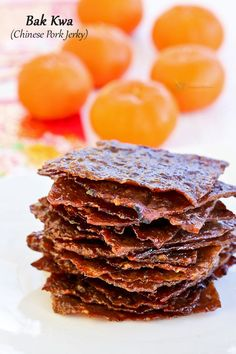 Wafer thin Bak Kwa (Chinese Pork Jerky) is a must-have for the Chinese New Year. Make your own using just a few simple ingredients and at a fraction of the cost.   MalaysianChineseKitchen.com
