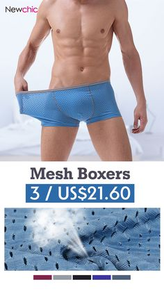 [Special 3 / US$21.60] Ice Silk Cool Mesh Hollow Breathable Sexy Boxers for Men#cool #tattoo