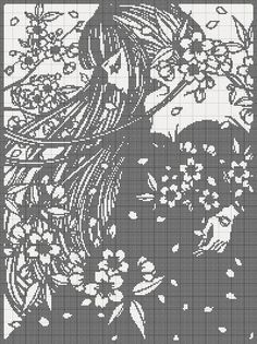 0 point de croix monochrome fille cheveux longs - cross stitch long haired girl