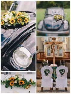 www.blumenfrauen.blogspot.de Hochzeitsfloristik, Sonnenblumen, Autoschmuck, Kirchenschmuck