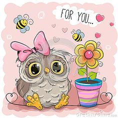 Cute Cartoon Owl with flower
