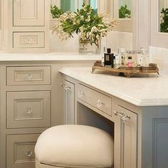 Traditional Gray Make Up Vanity with White French Stool