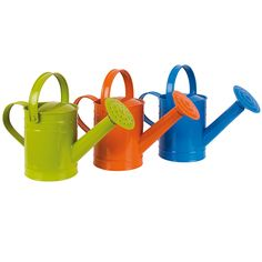 Twigz watering cans come in three different colours (blue, orange and green), all 1.5 Litre in volume and have two handles. One handle over the top of the body for carrying around the garden and the handle on the back of the body to tilt the water over the plants