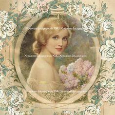 Vintage Romantic Woman with Flowers Portrait Artwork Print Digital Download & Digital Collage Sheet Vintage Scrapbook Supply French Décor