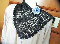 黒のピュアリネン100%の糸で編んだ2WAYのミニストール&スヌードです真っ黒ですややハリはありますが、毛羽立ちのないきれいな糸ですレーシーな透かし模様編みで...|ハンドメイド、手作り、手仕事品の通販・販売・購入ならCreema。