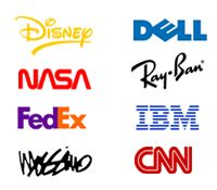 Disney, Dell, NASA, RayBan, Fedex, IBM, Mossimo, CNN logotype wordmarks