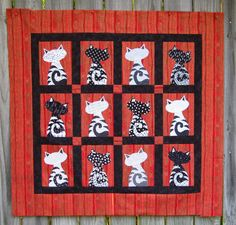 The Black and White Quilt Challenge Project: Meet Dave & Friends  {inspired by a 1999 pattern of Janet Jones Worley}