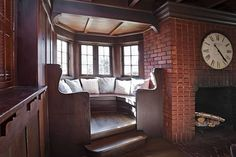 A reading nook located in the living room.