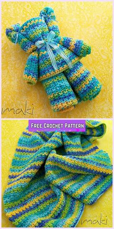 Crochet Ripple Baby Blanket Bear Free Pattern