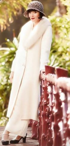 The Hon Phyrne Fisher (Essie Davis) in the 1920s TV series Miss Fisher's Murder Mysteries set in Melbourne. It's based on the wonderful books by Kerry Greenwood.
