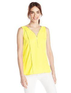 Calvin Klein Women's Half-Zip Tank Top - Throw-On-and Go Shirts #fashion #summer2015