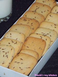 Prachi's veg kitchen: Eggless Jeera Biscuits/ cumin cookies Eggless Cookie Recipes, Eggless Desserts, Eggless Baking, Baking Recipes, Snack Recipes, Dessert Recipes, Microwave Recipes, Baking Tips, Eggless Biscuits