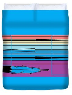 Duvet Cover of 'Navajo 3' by Sumi e Master Linda Velasquez. All My Apparel in SHOP at top of site.