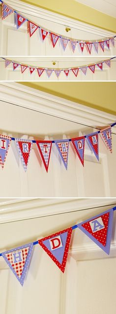 Free printable digital pdf download, Happy Birthday country cottage style craft backing paper bunting banner.