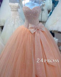 Custom Made Sweetheart Tulle Sequin Long Prom Gown, Prom Dresses – 24prom