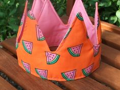 PINK WATERMELON CROWN Handmade Baby Clothes, Fun Prints, Crowns, Little Ones, Tea Party, Watermelon, Pink, Bags, Style