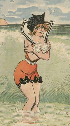 Старинная открытка русалки