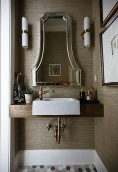 Bathrooms Mirrors // Tilting Bathroom Mirror // Frame Your Bathroom Mirror // Bathroom Mirror Ideas. What a gorgeous bathroom mirror! Unique Bathroom Mirrors, Bathroom Mirror With Shelf, Rectangular Bathroom Mirror, Bathroom Mirror Makeover, Amazing Bathrooms, Mirror Vanity, Diy Vanity, Vanity Ideas, Budget Bathroom