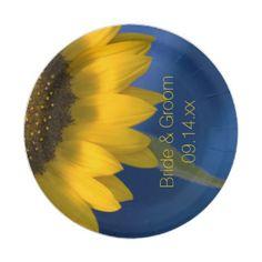 Sunflower on Blue Wedding 7 Inch Paper Plate