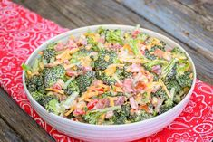 Broccoli Salad is a summertime salad staple. You see it at picnics, reunions, potlucks. I wanted to make a Keto version to cure that craving. I had to eliminate the sugar and dried cranberries to make it Keto friendly and I added red pepper for color, jalapeno for kick, and Swerve for sweet.