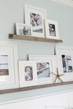Learn how to make these simple and functional DIY picture ledges to display your favorite photographs City Farmhouse wall decor, wall art Furniture, Home Projects, Interior, Home, Picture Gallery Wall, Picture Ledge, Wicker House, Home Diy, Interior Design