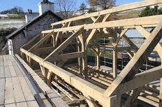 Chamfered purlins and ridge ready to receive sips panels #timberframe Castle Ring Oak frame