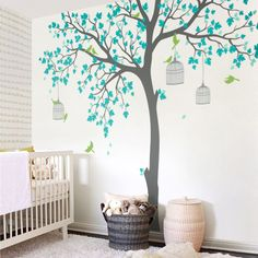 Big tree wall decal for your new room interior, easy  to stick, look beautiful. Fresh your room look and choose your sweet tree decal.  #nursery #tree #decal #livingroom #mint #birds #wallart