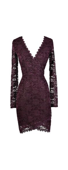 Naughty Or Nice Crossover Hemline Longsleeve Lace Dress in Purple  www.lilyboutique.com