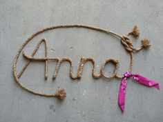 Custom Western Rope Name Art, perfect for any country, western, rustic, or nautical themed nursery, room, or party. Please visit my etsy shop, Lasso Lettering, at https://www.etsy.com/shop/LassoLettering?ref=hdr_shop_menu