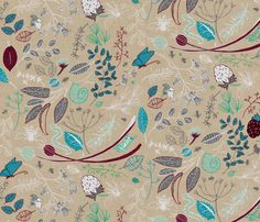 The Herb Garden (in mushroom) by nouveau_bohemian, click to purchase fabric