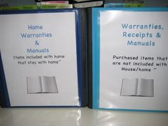 I decided I needed to organize my home warranties, user manuals, etc. in an easy to get to format that would not take up even more space in. Organising, Organizing Ideas, Home Binder, Important Documents, Home Warranty, Paper Organization, Modular Homes, Homemaking, Helpful Tips