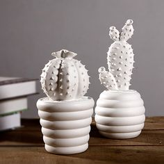 Cactus white ceramic ornaments creative home decorations modern minimalist living room furnishings with Free Shipping
