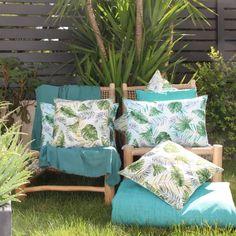 Coussin outdoor au style jungle botanique (Bleu), (Vert) - Homemaison : vente en ligne coussins extérieurs / outdoor Parasols, Stores, Deco, Throw Pillows, Polyester, Dimensions, Composition, Home, Collection