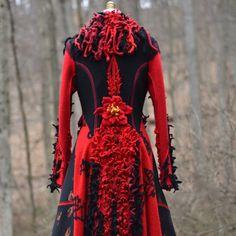 Red black wool boho eco fashion fantasy SWEATER by amberstudios