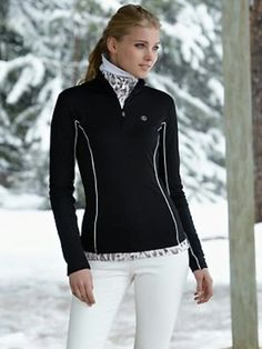 Winter outfit. Ski clothes. White pants, black jacket, scarf. Love this!  This is a super cute black layer that is perfect because it will keep me warm but also is really cute when you take off your ski coat in the lodge, etc...You still want to be warm but also look cute.  I love this top!