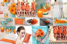 Orange and blue wedding... just add some green and navy blue!