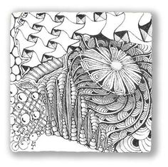 Or, fill your tile full of many tangles. In this Zentangle you'll find shattuck, crescent moon, cadent, pearlz, chartz and a few others.