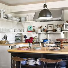 Pure Country Christmas: The Kitchen Open Shelves and Light Color Softens the Space