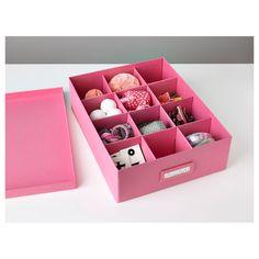 TJENA Boîte à compartiments - rose - IKEA