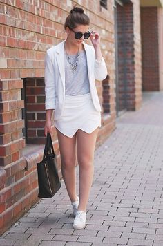 Persunmall Blazer, Sheinside Skorts, Chicwish Bag, Chicwish Sunglasses