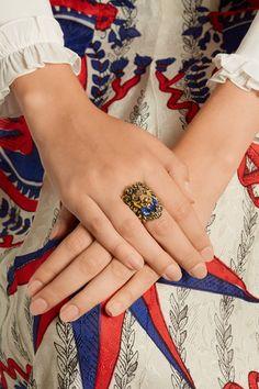 GUCCI Gold-tone Swarovski crystal ring $410